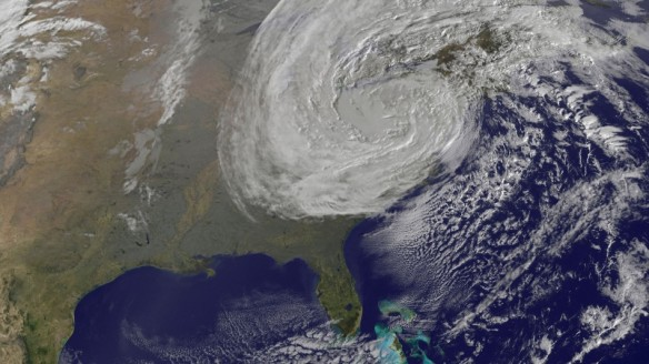 Post-Tropical Sandy rolling inland on Tuesday, October 30 (Credit: NOAA/NASA GOES Project)